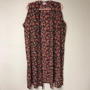 Lularoe Floral Sleevless Jacket XLarge EUC